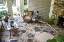 Back Stone Patio Porch Of Larg...
