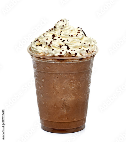 Fototapeta Frappuccino white whip cream in takeaway cup isolated on white background