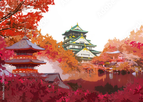 Poster Bordeaux Autumn japan travel concept, Art of beautiful autumn season with landmark famous place of Osaka castle, Daigo ji temple, red pagoda of Kiyomizu temple in Kyoto and Osaka, Japan