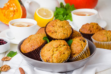Spiced Pumpkin Muffins With Walnuts And Cranberries