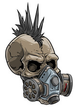Cartoon Detailed Realistic Colorful Scary Human Punk Skull In Chemical Gas Mask Respirator With Protective Filters. Isolated On White Background. Vector Icon.