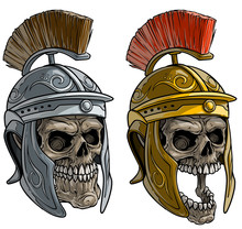 Cartoon Detailed Realistic Colorful Scary Human Skulls In Metal Ancient Roman Soldier Warrior Helmet With Crest. Isolated On White Background. Vector Icon Set.