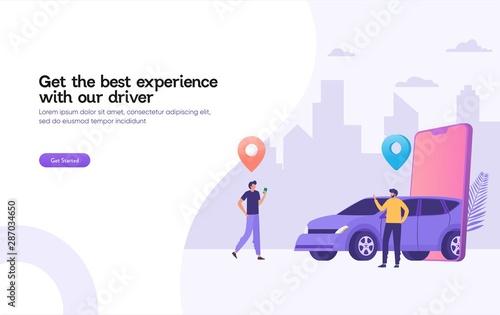 Cuadros en Lienzo happy man wait for taxi driver vector illustration concept,  Online car sharing