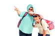 Happy elderly buddy traveling together, senior Asian women tourist with backpack wear hat and sunglasses isolated on white background. Mature female travelers feel excited and joyful with journey trip