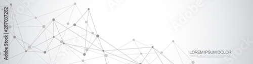 Fotografía Website header or banner design with abstract geometric background and connecting dots and lines