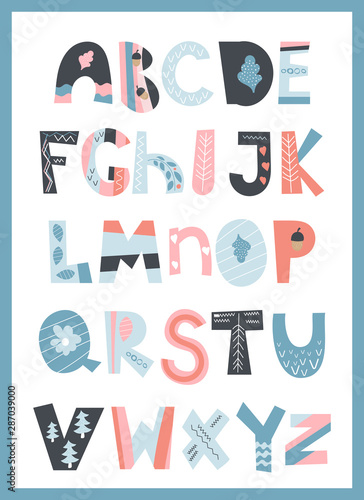 Scandinavian colorful alphabet for kids. Cartoon Hand drawn graphic font. For typography poster, for greeting card, banner design. ABC. Vector illustration isolated on white background.