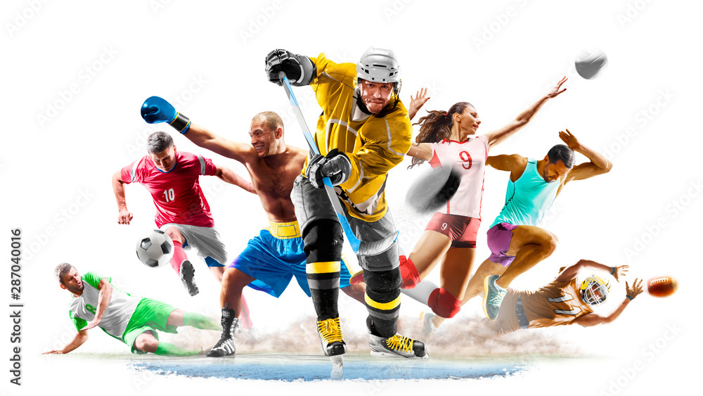 Fototapety, obrazy: Multi sport collage football boxing soccer voleyball ice hockey running on white background
