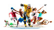 canvas print picture - Multi sport collage football boxing soccer voleyball ice hockey running on white background