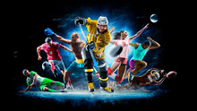 Multi Sport Collage Football Boxing Soccer Voleyball Ice Hockey On Black Background