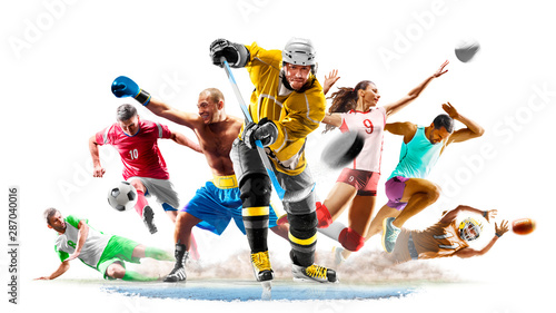 Fototapeta Multi sport collage football boxing soccer voleyball ice hockey running on white background obraz