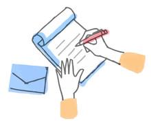手紙を書く手元