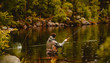 Fisherman using rod fly fishing in mountain river