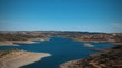 Aerial view from a dam in Alentejo Portugal, The Chanza River. Drone view