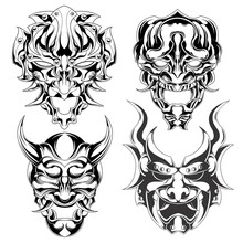 Set Of Demon Mask Vector