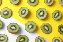 Top View Of Sliced Fresh Kiwis...