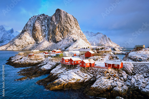 Fotografie, Tablou Hamnoy fishing village on Lofoten Islands, Norway