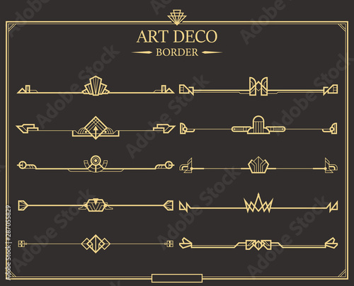 Set of Art deco gold calligraphic page dividers. Canvas Print