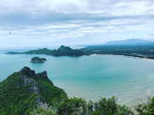 Sea And Sky Background From The Mountain At Khao Lom Muak, Prachuap Khiri Khan District, Thailand