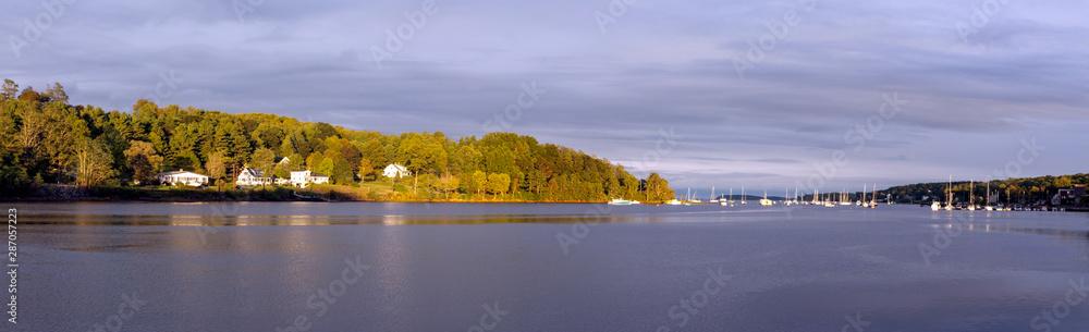 Fototapeta Sunset on Mahone Bay in Nova Scotia.