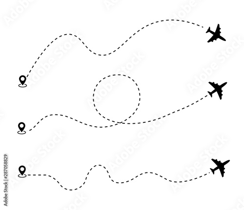 Airplane dotted route line the way airplane. Set. Flying with a dashed line from the starting point and along the path - stock vector. Fototapete