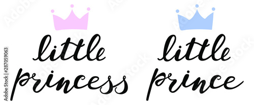Fotografie, Obraz little princess and little prince with blue and pink crowns,  boy and girl lettering for baby clothes, onesie, room, bags, poster