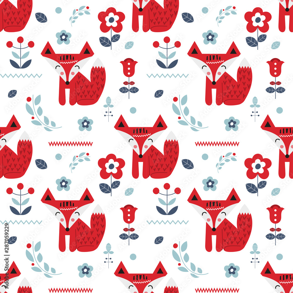 Seamless pattern with foxes and flowers in Scandinavian style. Vector Illustration. Kids illustration for nursery scandi design. Great for baby clothes, greeting card, wrapper.