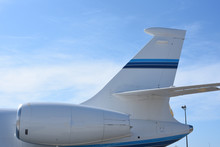 Close Up Of Jet Engine And Tail Of A Private Jet.