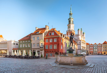 Poznan. Old Town. Historic tenements and the town hall
