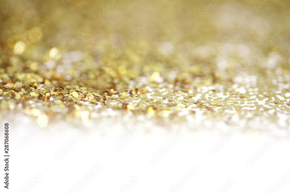 Fototapety, obrazy: Gold (bronze) glitter shine dots confetti. Abstract light blur blink sparkle defocus backgound.