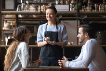 Smiling Waitress Hold Notepad Take Order Serving Couple Customers