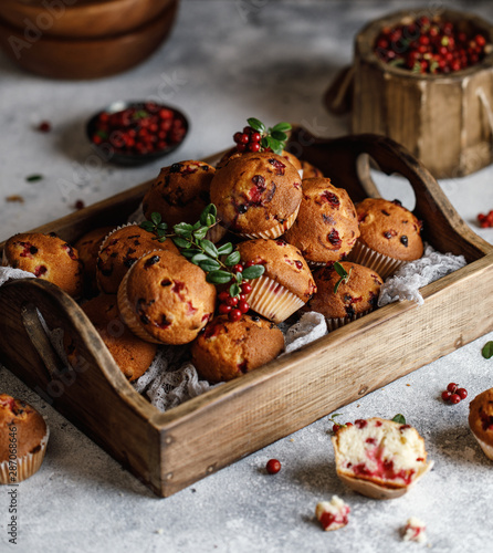 Freshly baked cowberry muffins. Cranberry muffins with fresh berries on rustic background. Copy space.
