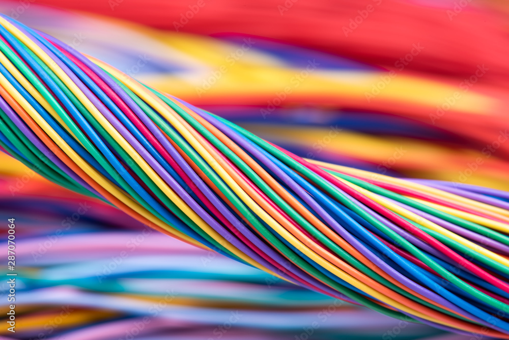 Fototapeta Colorful electrical cable  computer and telecommunication network, industry and technology of data transmission concept