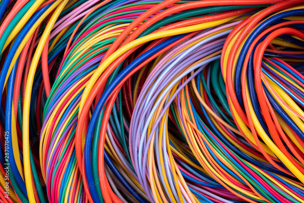 Fototapety, obrazy: Electrical Wiring Solutions Multicolored Cable Close-up