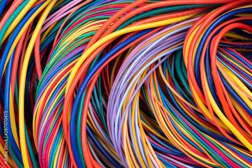 Obraz Electrical Wiring Solutions Multicolored Cable Close-up - fototapety do salonu