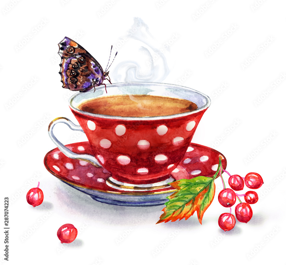 Fototapety, obrazy: Tea with viburnum, watercolor illustration on a white background. A cup of tea, a branch with viburnum berries, a butterfly.