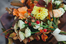 Autumn Flowers Decor, Cream Beige Roses With Fall Berries