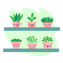 Kawaii House Plants Smiling Set On A Shelve. Flat Style. For Interior Elements, Applicable For Bright Home Decorations Leaflets, Hygge Illustrations Etc. Isolated Vector Illustration.