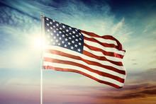 American Flag Blowing At Dawni...