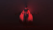 Seductive Ghost Demon With One Knee Raised And Arms Out In A Death Shroud Upside Down Floating Crosses Abstract Demon In A Red Foggy Void Left View 3d Illustration 3d Render