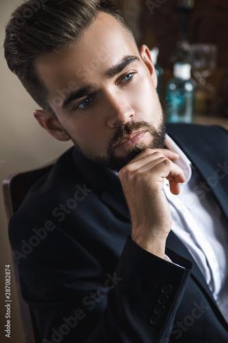 Photo sur Toile Les Textures Portrait of handsome bearded man