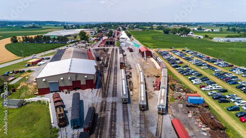 Fotografie, Obraz  Aerial View of Train Yard Waiting for Trains