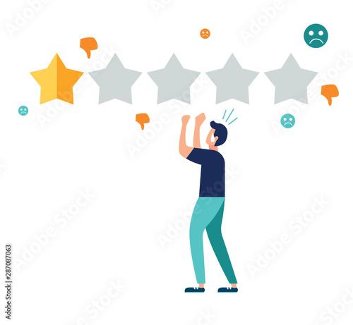 man upset at low star rating Wallpaper Mural
