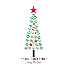 Christmas Tree Made With Paw Print. Happy New Year And Merry Christmas Greeting Card