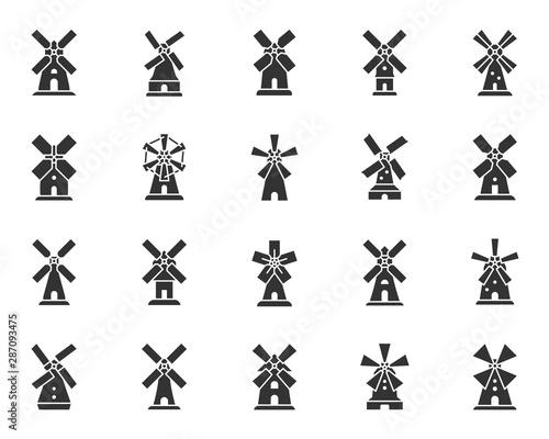 Obraz Vintage Windmill black silhouette icons vector set - fototapety do salonu