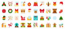 Christmas New Year Flat Xmas Icons Vector Set