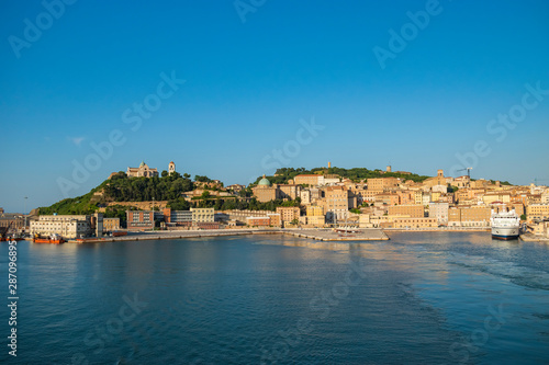 Photo View of Ancona port and cityscape.