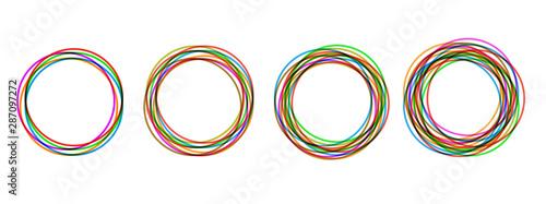 Photo Circular form, set of circles using sketch drawing circle lines, circular logo e