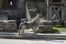 Wooden Toy Horse In The Courtyard Of A Medieval Fortress