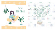 Calendar 2020. Calendar Modern Set With Woman And Plants Minimalistic Geometric Scandinavian Style And Trendy Colors. Week Starts On Sunday. Set Of 12 Months Minimalist Calendars. Flat Illustrations