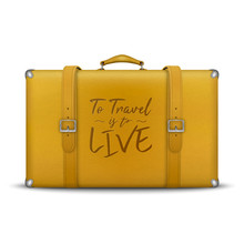 Vector 3d Realistic Retro Leather Yellow Threadbare Suitcase And Travel Stickers, Metal Corners, Belts Closeup Isolated On White Background. Vacation And Travel Concept. Vintage Trip Bag. Front View